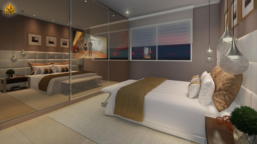 Quarto Suite com Armário Espelhado em 3D