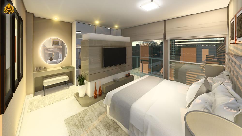 Quarto Suite com Ilha para TV e Closet em 3D