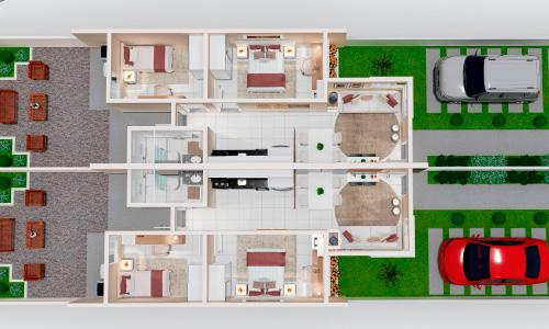 Plantas Perspectivadas 3D de Casas